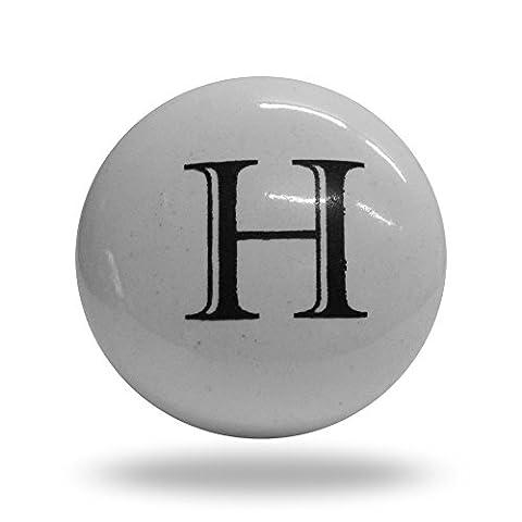Porte de l'alphabet Lettre H d'armoire en céramique Bouton de tiroir et poignée
