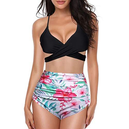 Man&Y-Bademode Bikinis Frauen-Badebekleidungs-vorderer Kreuz-Halter drücken Bikini-Blumenunterseite 2 Stück-Nette Badeanzüge-Strandkleidungs-Art- und Weisesommer hoch (Color : Rosa, Size : Large)