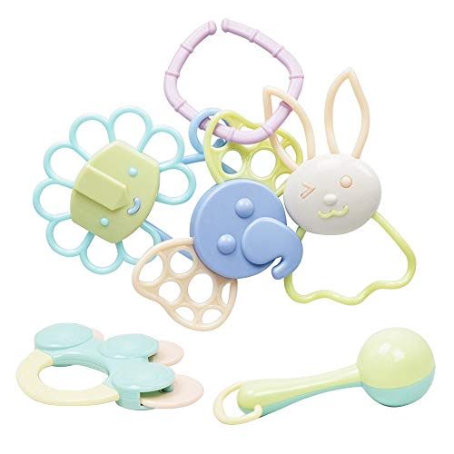 Wingeri Kollektives Partyspiel Kunststoff Gekocht 6-teiliges Zahngel Neugeborenes Baby Beißring Rassel Set 0-1 Jahre Altes Baby Hand Pull Spielzeug Geeignet für Jede Party