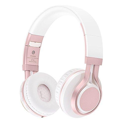 Preisvergleich Produktbild KINGCOO Bluetooth Kopfhörer Over-Ear,  Faltbar Drahtlose Kopfhörer Verdrahtete Auf Ohr Kopfhörern Headsets mit Mic, TF Karten Mp3 Spieler FM Radio(Weiß / Rose)
