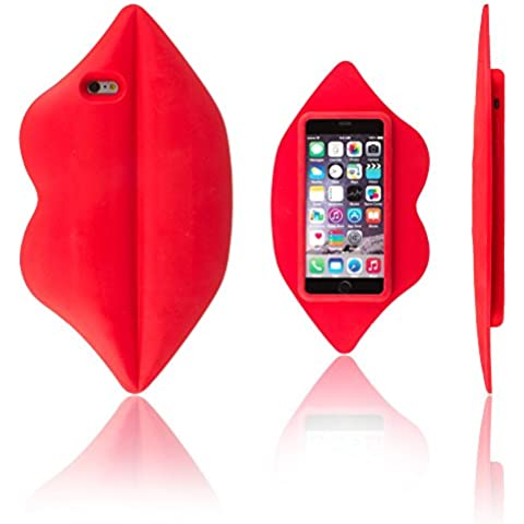 Xcessor Lips Labios Funda Silicona Para Apple iPhone 6 Plus y 6S Plus. Rojo