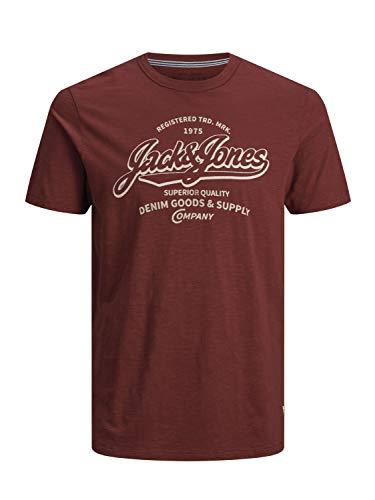 JACK & JONES PREMIUM Herren JPRLOGO BLU Tee SS Crew Neck-PRE T-Shirt, Rot (Fired Brick Fit: Slim Fit), Medium (Herstellergröße: M) -