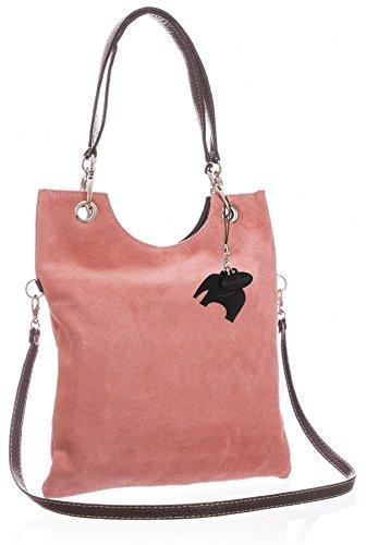 Big Handbag Shop in pelle scamosciata, Maniglia superiore sera frizione borsa a tracolla, rosa (Coral (GU172)), Taglia unica