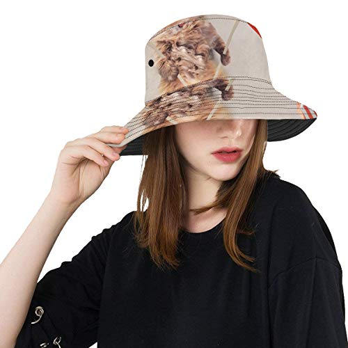 Plosds Nette Katze mit Flaggen Sommer Unisexfischen Sun Spitzen Eimer Hüte für Kind Teenager Frauen und Männer mit verpackbarer Fischer Kappe für Baseball Sport Picknick im Freien