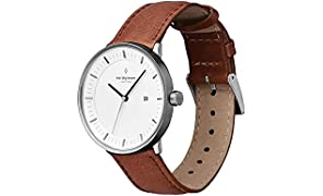 Nordgreen Philosopher Scandinavian Gun Metal Unisex Analog 40mm (Large) Watch with Brown Leather Strap 10007