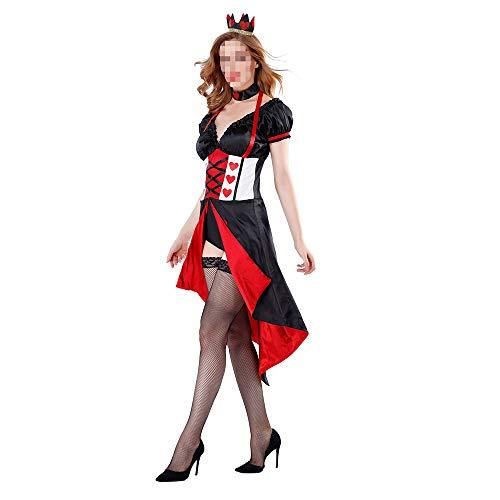 Queen Sexy Red Kostüm - kMOoz Halloween Kostüm,Outfit Für Halloween Fasching Karneval Halloween Cosplay Horror Kostüm,Alice Schläft Im Wunderland Red Queen Spielt Die Kostümkönigin Kostüme Halloween Kostüme