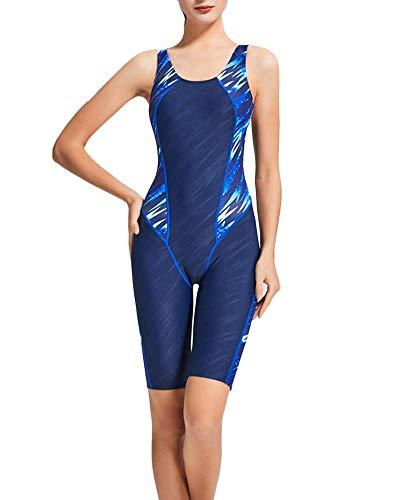 Shaoyao Damen Drucken Badeanzug mit Bein Schwimmanzug Hotpants mit Schwimmerrücken 2 2XL