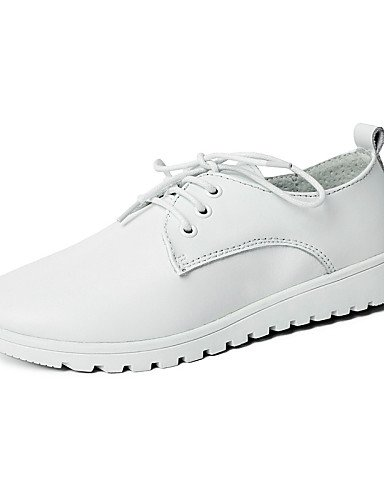 ZQ 2016 Scarpe Donna - Stringate - Casual - Punta arrotondata - Piatto - Di pelle - Nero / Bianco , white-us8.5 / eu39 / uk6.5 / cn40 , white-us8.5 / eu39 / uk6.5 / cn40 white-us7.5 / eu38 / uk5.5 / cn38