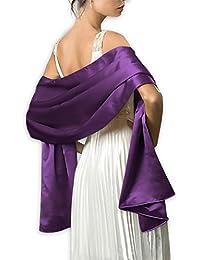 Femme Étole en Satin Châle Écharpe en Satin - Wrap Foulard Pashmina  240cm 75cm pour Soirée Cérémonies… 030c8a14c5b