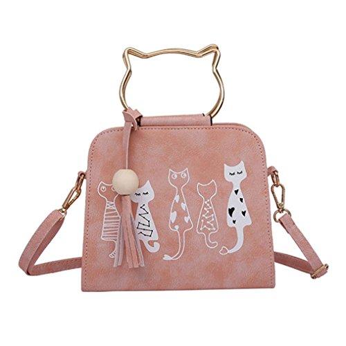Fossil Jeans (QinMM Tier Messenger Bag Frauen Handtaschen Katze Kaninchen Muster Schulter Umhängetasche Kosmetiktasche Kleine Mode Schwarz Grau Rosa (Rosa))