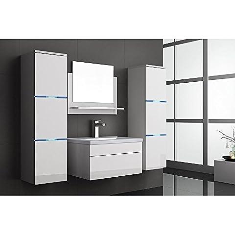 Home Deluxe | Badmöbel-Set | Cuxhaven | Weiß | Hochglanz | inkl. Waschbecken und komplettem Zubehör