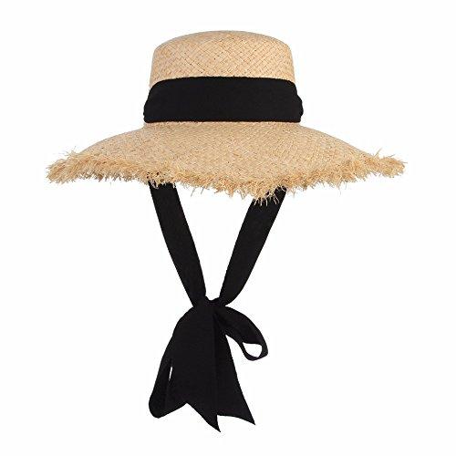 MBYXGS Handgemachte Webart-Raffiabast-Sonnenhüte für Frauen-Schwarz-Band schnüren Sich Oben Große Rand-Strohhut-im Freienstrand-Sommer-Kappen