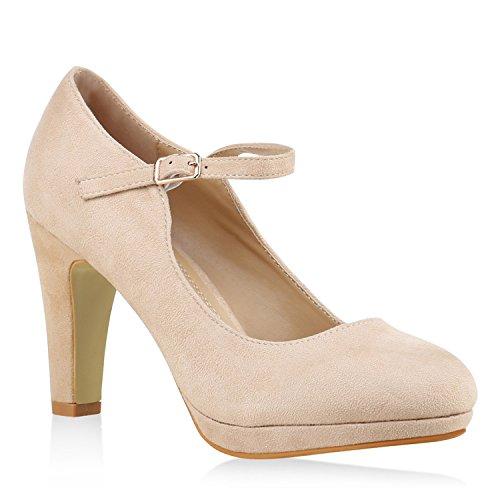 Damen Pumps T-Strap Blockabsatz High Heels Damen Mary Janes Samt Velours Spangenpumps Lack Leder-Optik Schuhe 135524 Nude 41 Flandell -