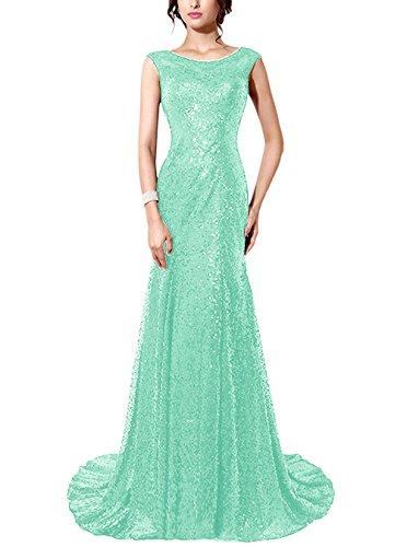 Find Dress Femme Elégant Sexy Robe de Soirée/Mariage/Cérémonie sans Manches Traîne Royale en Sequins Vert Menthe