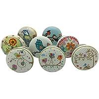 Set de 8x pájaros jardín armario de pomos de cerámica para puerta Vintage Shabby Chic cajón tire tiradores de G Decor