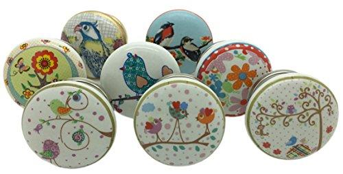 G Decor - 8 Tür-/Schubladenknäufe aus Keramik, singende Vögel, im Shabby-Chic-/Vintage-Stil