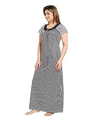 Tucute Women Beautiful Line Print Black Nighty/ Night Dress (Free Size)