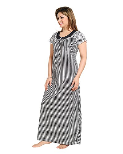 Tucute-Women-Beautiful-Line-print-Nighty-Night-Gown-Night-Dress-Black-Free-Size-DNo1278