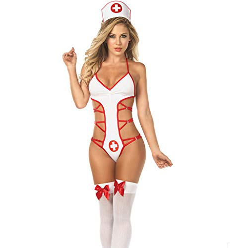 Damen Sexy UnterwäSche, Trisee✔ Passion Krankenschwester Uniform Frauen Erotik Underwear RüCkenfrei ReizwäSche Erotique Babydoll Transparente Nachthemden Versuchung Dessous Jumpsuits -