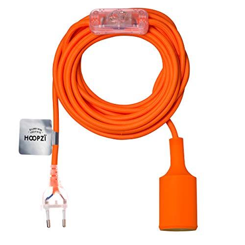 Hoopzi • Bala Fun • Fassung e27 mit Kabel • Lampenfassung e27 mit Kabel und Schalter • Textilkabel mit Fassung • Lampenkabel • Pendelleuchte • 4,5 Meter • 36 Fraben • Orange - Schlafzimmer Baldachin Möbel