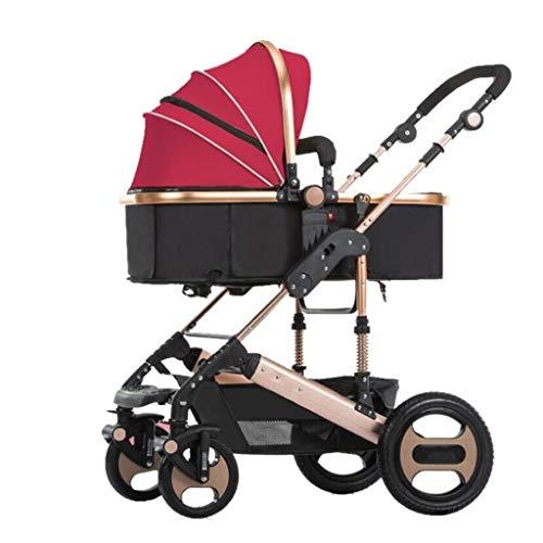 Cochecito de oro ligero Cochecito ligero con asa de tres velocidades Carrito de viaje ligero para bebés y bebés pequeños (Color : Red)