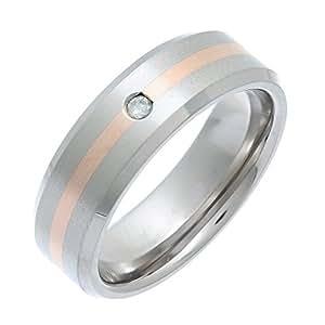 Theia Titanium and 9ct Rose Gold Inlay Flat Court 0.05ct Diamond Matt 7mm Ring - Size K