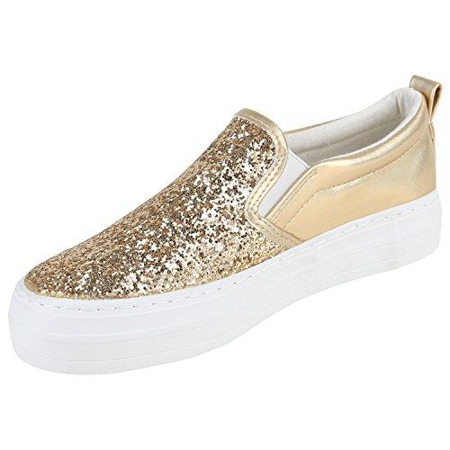 399e849f8e516d Damen Slipons Glitzer Plateau Slipper Metallic Trend Schuhe Gr 3641 ...
