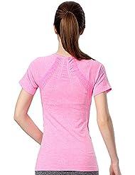 Bivens Mujer de secado r¨¢pido Wicking sudor Fitness Yoga Sports T-shirt