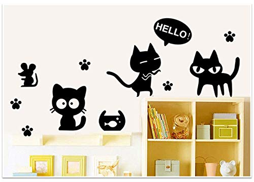 Lumanuby. 1x Katze und Maus Wandaufkleber Entfernbar für Wand Kleiderschrank oder Kabinett Tür von Kinderzimmer und Kindergarten Karikatur Tier Wandbilder aus PVC, Schwarz, Wandtattoo Serie 76x72cm