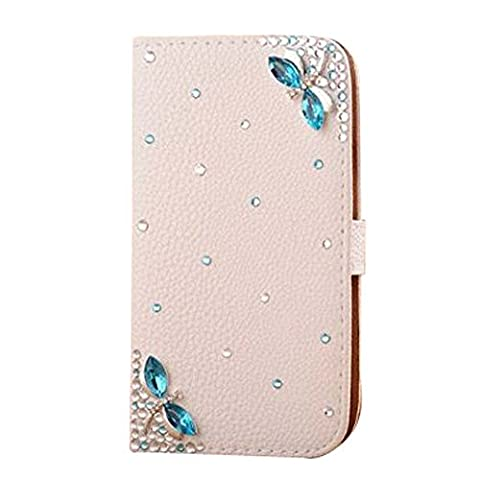 iPhone 5 / iPhone 5S / iPhone SE 3D Bling Case, A-BEAUTY High Quality Luxury Lovely Elegant Romantic Tinkerbell Blue Dragonfly Rhinestone PU Leather Flip Wallet Case Cover for Apple iPhone 5 5S SE,