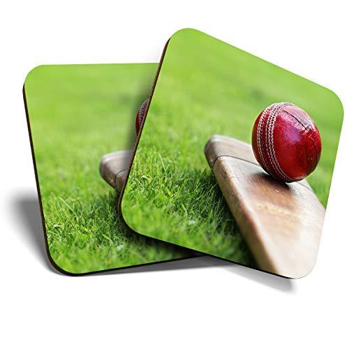 Great Untersetzer (Set von 2 Stück) quadratisch/glänzende Qualität Untersetzer für jeden Tischtyp - Cricketschläger Red Ball Sport Herren Jungen #8267