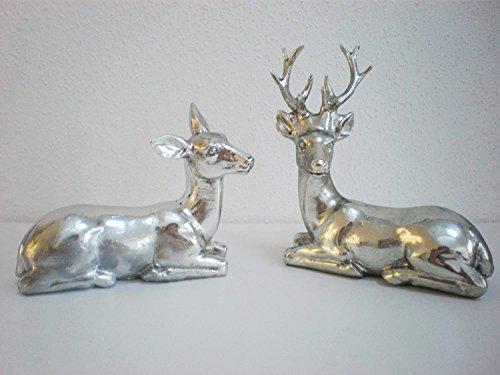 Hirsch Paar Figur Farbe: silber liegend 2er-Box Weihnachten Landhaus Skulptur Hirschgeweih -