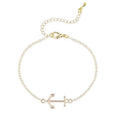 Gold-Silber überzogenes Anker Armband-handgemachte Armbänder für Frauen-besten Freund-Geschenk Sommer-Art-Liebes-Armband (Opal Gold Überzogenes)