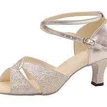 Moda moderna sandalias personalizables de plata la mujer salón de baile Zapatos de Baile latino/cuero sintético brillante Glitter Swing/Salsa Zapatos sandalias,Plata,US4-4.5/EU34/UK2-2.5/CN33