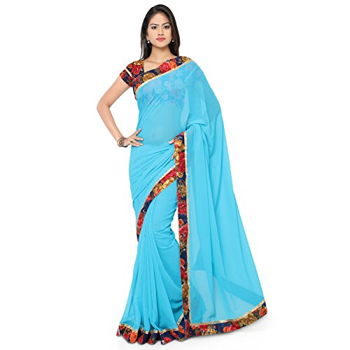 Aaina Sky Blue Faux Georgette Embroidered Saree With Blouse  available at amazon for Rs.429