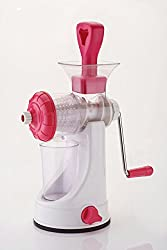 Popular Products Plastics Pink Classic Manual Fruit and Vegetable Juicer With Vacuum Base and Stainless Steel Handle (PP-8)