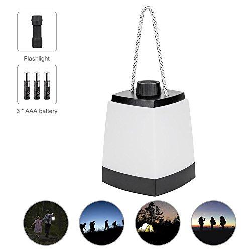 Winzwon Campinglampe LED Zeltlampe 2 in 1 Multifunction Tragbare Campingleuchte Taschenlamp Camping Laterne Ideal für Terrasse, Camping, Wandern, Notfall, Outdoor-Aktivitäten, Schwarz(inklusive 3 AAA Batterie)