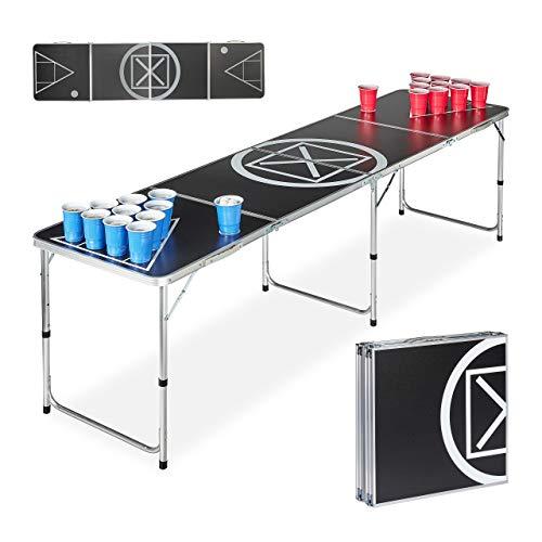 Relaxdays Beer Pong Tisch, klappbar, Trinkspiel, Audio Table Design, für Erwachsene, HBT 70 x 241,5 x 60cm, schwarz/weiß