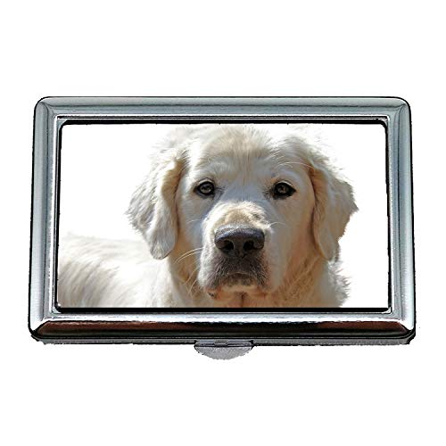 Zigarettenetui/Box, Golden Retriever isoliert Haustier Hund Tier Portrait, Visitenkartenetui Visitenkartenetui Edelstahl -