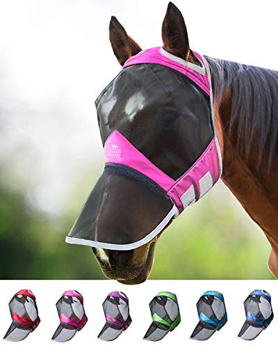 Harrison Howard CareMaster Pro Luminous Fliegenmaske UV-Schutz ohne Ohren mit Nasenschutz Rosa Vollblut (M)
