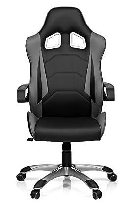 hjh OFFICE Racer Pro I Silla de Oficina, Negro y Gris, 50.00x57.00x138.00 cm