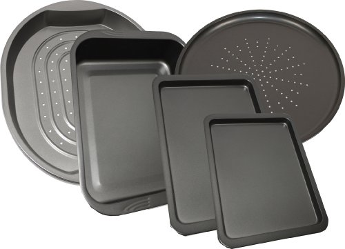 5 Piece Prochef Large Non Stick Oven Tray Pizza Baking Crisper Roasting Tin Pans