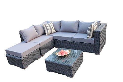 YAKOE Papaver Serie Outdoor 5 Sitzer Polyrattan Lounge Ecksofa Sitzgruppe Gartenmöbel Sitzgarnitur,...