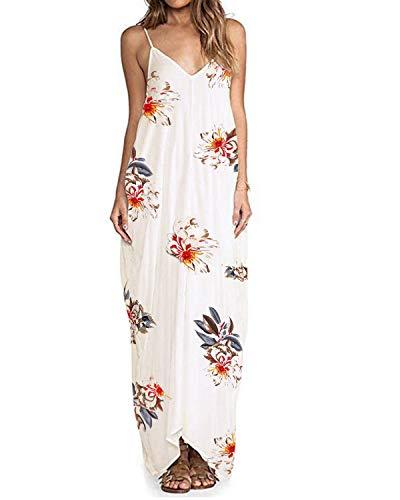 ZANZEA Sommerkleid Damen Ärmellose Maxikleid Blumen Langes Kleid V Ausschnitt Strandkleid Trägerkleid Casual B16098-Weiß EU 44