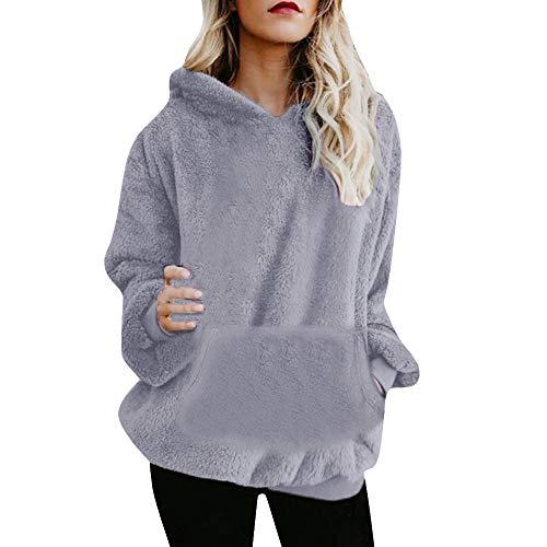 Donne cappotto con cappuccio in flanella, mamum–felpa con cappuccio cappotto invernale in cotone con cerniera cappotto outwear, grey, m
