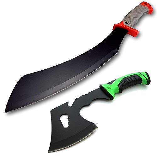 *2er Set* große 49cm Parang BK50 Survival Outdoor Busch Jungle Machete + 27cm kleine & handliche Feuerholz/Survival-Axt-Beil/Messer mit TacHide Griff