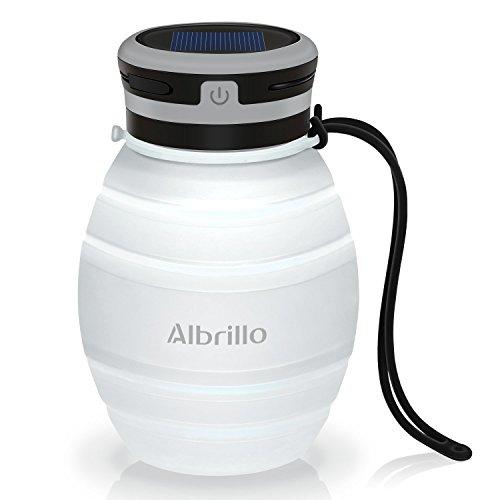 Albrillo LED Campinglampe faltbare Trinkflasche Solarleuchten Led Flasche Solar Flaschen, 3 Lichtmodi und IPX7, Weiß (Weiß)