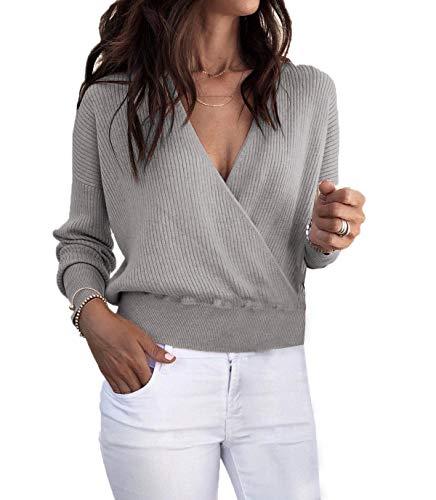 Ajpguot Pullover Damen V Ausschnitt Oberteile Langarm Sweater Einfarbig Pulli Jumper Tops, Grau, XL