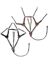 Horka Gamarra elástica Pechopetral de caza desmontable Horse riendas de entrenamiento de golf, negro/plata
