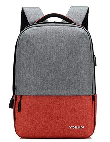 Laptop Rucksack,Casual Rucksack Oxford Tuch Schulter Herrenmode Hit Farbe Verschleißfesten Anti-Diebstahl-USB-Laderucksack, Orange Daypack Schulrucksack Backpack